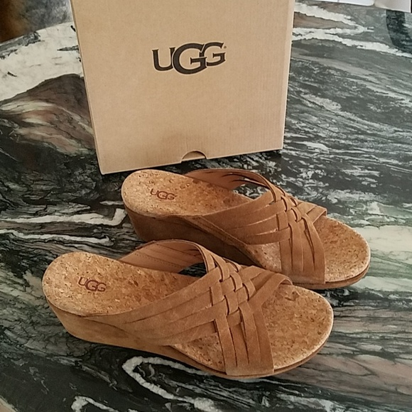 e9ada675b3 UGG Shoes | Lilah Chestnut Wedge Sandals | Poshmark